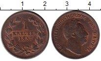 Изображение Монеты Германия Баден 1 крейцер 1852 Медь XF