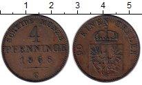 Изображение Монеты Германия Пруссия 4 пфеннига 1868 Медь XF