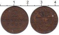 Изображение Монеты Германия Пруссия 2 пфеннига 1837 Медь XF-