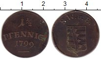 Изображение Монеты Германия Саксен-Веймар-Эйзенах 1 1/2 пфеннига 1799 Медь VF