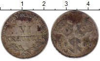 Изображение Монеты Европа Швабия 6 крейцеров 1805 Серебро VF