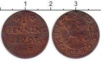 Изображение Монеты Росток 1 пфенниг 1793 Медь XF