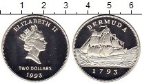 Изображение Монеты Бермудские острова 2 доллара 1993 Серебро Proof Корабль