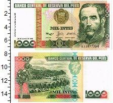 Изображение Банкноты Перу 1000 инти 1988  UNC Андрес Авелино Касер