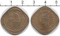 Изображение Монеты Азия Индия 2 анны 1944 Латунь XF