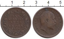 Изображение Монеты Азия Индия 1/4 анны 1910 Бронза XF