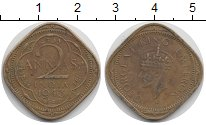 Изображение Монеты Азия Индия 2 анны 1943 Латунь XF