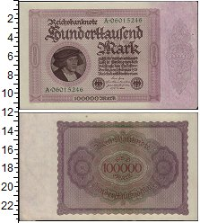 Изображение Банкноты Веймарская республика 100000 марок 1923  UNC- Портрет купца работы