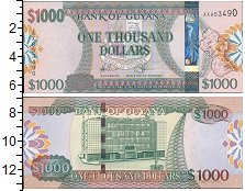 Изображение Банкноты Гайана 1000 долларов 0  UNC Эмблема банка Гайаны