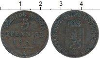 Изображение Монеты Германия Рейсс-Шляйц 3 пфеннига 1858 Медь XF-
