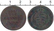 Изображение Монеты Саксония 3 пфеннига 1807 Медь VF