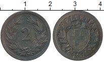 Изображение Монеты Европа Швейцария 2 раппа 1851 Медь XF