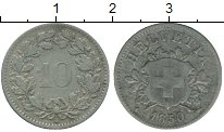 Изображение Монеты Европа Швейцария 10 рапп 1850 Серебро XF-