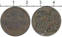 Изображение Монеты Германия Гессен-Кассель 2 геллера 1792 Медь XF-