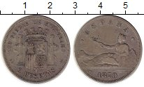 Изображение Монеты Европа Испания 2 песеты 1870 Серебро XF-
