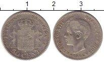 Изображение Монеты Европа Испания 50 сентим 1896 Серебро VF+