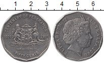 Изображение Монеты Австралия 50 центов 2001 Медно-никель XF