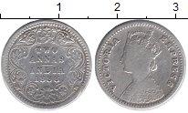 Изображение Монеты Индия 2 анны 1888 Серебро VF Виктория