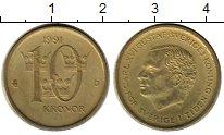 Изображение Монеты Швеция 10 крон 1991 Латунь XF