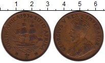 Изображение Монеты ЮАР 1 пенни 1934 Бронза XF- Георг V