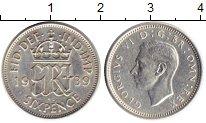 Изображение Монеты Великобритания 6 пенсов 1939 Серебро XF Георг VI