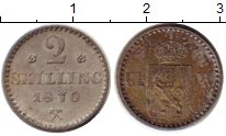 Изображение Монеты Европа Норвегия 2 скиллинга 1870 Серебро XF