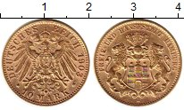 Изображение Монеты Гамбург 10 марок 1903 Золото XF+