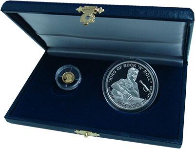 Изображение Подарочные монеты Гамбия Король рок-н-рола- Элвис Пресли 2015  Proof