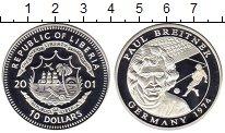Изображение Монеты Либерия 10 долларов 2001 Серебро Proof Футбол. Пауль Брайтн