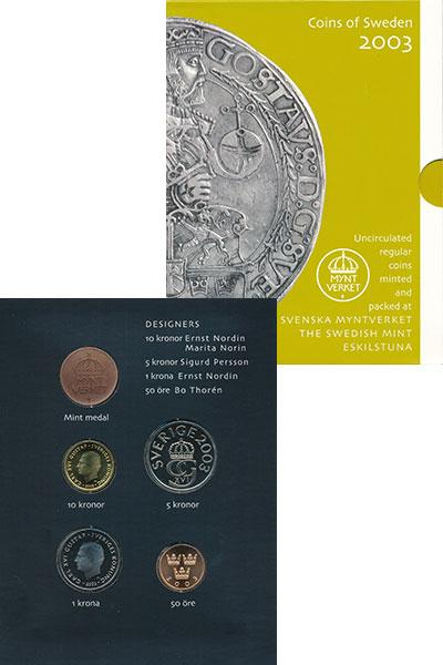 Изображение Подарочные монеты Европа Швеция Набор монет 2003 года 2003  AUNC