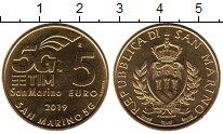 Изображение Мелочь Европа Сан-Марино 5 евро 2019 Латунь UNC