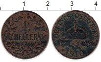 Изображение Монеты Германия Немецкая Африка 1 геллер 1910 Медь VF