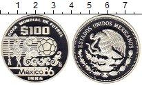 Изображение Монеты Мексика 100 песо 1985 Серебро Proof Чемпионат Мира по фу