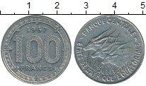 Изображение Монеты Африка Экваториальные Африканские территории 100 франков 1967 Медно-никель XF