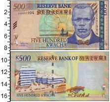 Изображение Банкноты Малави 500 квач 2005  UNC Портрет президента.З