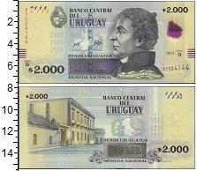 Изображение Банкноты Южная Америка Уругвай 2000 песо 2015  UNC