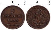 Изображение Монеты Европа Сан-Марино 5 сентесим 1936 Бронза XF