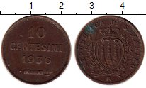 Изображение Монеты Сан-Марино 10 сентесим 1936 Бронза XF