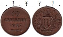 Изображение Монеты Европа Сан-Марино 10 сентесим 1937 Бронза XF