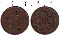 Изображение Монеты Европа Сан-Марино 10 сентесим 1938 Бронза XF