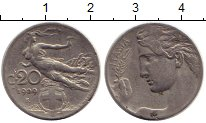 Изображение Монеты Италия 20 сентесим 1909 Медно-никель VF