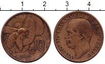 Изображение Монеты Италия 10 сентесим 1921 Бронза VF