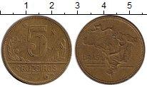 Изображение Монеты Южная Америка Бразилия 5 крузейро 1943 Латунь XF