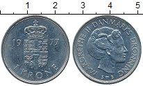 Изображение Дешевые монеты Дания 1 крона 1977 Медно-никель VF