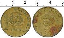 Изображение Дешевые монеты Доминиканская республика 1 песо 1992 Латунь VF-