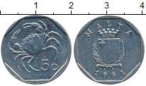 Изображение Дешевые монеты Мальта 5 центов 1991