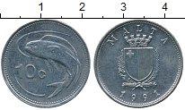 Изображение Дешевые монеты Мальта 10 центов 1991 Медно-никель XF