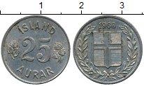Изображение Дешевые монеты Исландия 25 аурар 1960 Медно-никель XF-