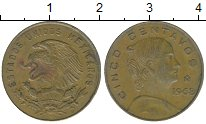 Изображение Дешевые монеты Мексика 5 сентаво 1968 Латунь VF+