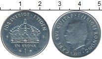 Изображение Дешевые монеты Европа Швеция 1 крона 2001 Медно-никель XF